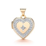 9ct Gold Heart Locket With Genuine Diamond