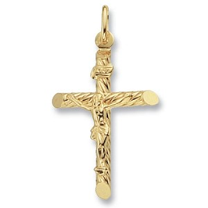 9ct Gold Patterned Crucifix