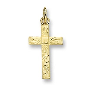 9ct Gold Patterned Cross