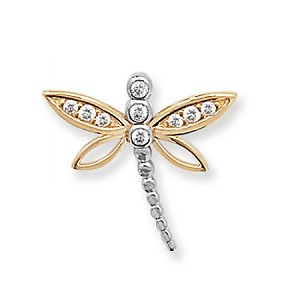 9ct Cubic Zirconia Gold Dragon Fly Pendant / Charm
