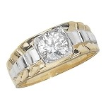 9ct White/Yellow Gold Men's  Cubic Zirconia Ring