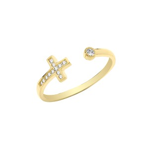 9ct Gold CZ Cross Open Ring