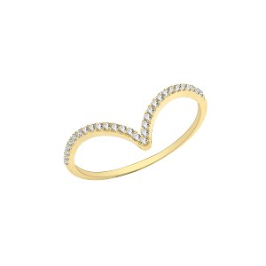 9ct Gold Cubic Zirconia Wishbone Ring