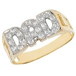 9ct Gold Cubic Zirconia 'DAD' Ring