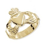9ct Gold Solid Gents Claddagh Ring