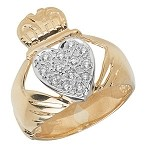 9ct Gold Gents CZ Claddagh Ring