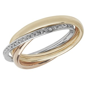 9ct Gold Ladies Tri Colour Russian Cubic Ring