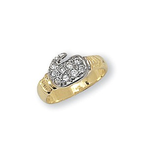9ct Gold Childs  CZ Boxing Glove Ring