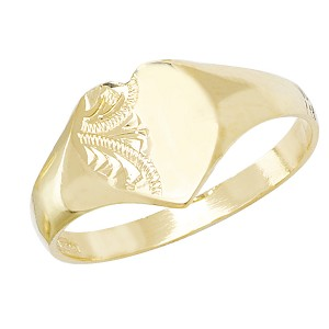 9ct Gold Maidens Engraved Heart Signet Ring