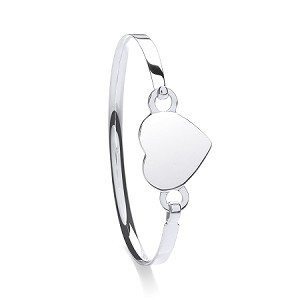 Sterling Silver Ladies Heart Bangle