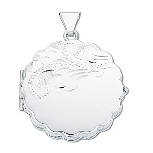 Sterling Silver Round Engraved Locket