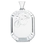 Sterling Silver Engraved Rectangular Locket
