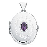Sterling Silver Oval Locket With Genuine Amethyst