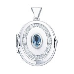 Sterling Silver Locket With Blue Topaz