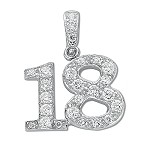 Sterling Silver '18' Pendant With Cubic Zirconia's