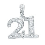 Sterling Silver '21' Pendant With Cubic Zirconia's
