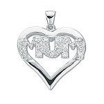 Sterling Silver  Cubic Zirconia Heart Mum Pendant