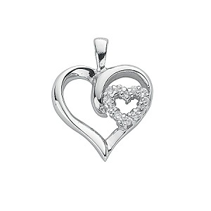 Sterling Silver Heart Pendant With Cubic Zirconia's