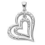 Sterling Silver Double Cubic Zirconia Heart Pendant