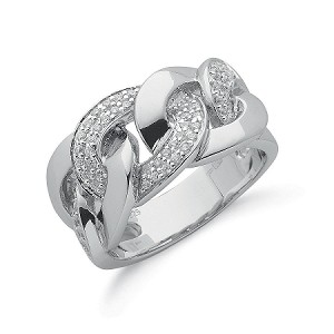 Sterling Silver Gents Cubic Zirconia Curb Ring