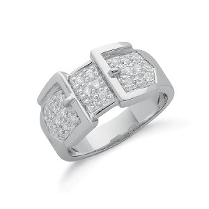 Sterling Silver Gents Cubic Zirconia Buckle Ring