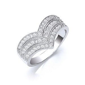 Sterling Silver Ladies Cubic Zirconia Ring