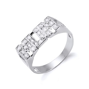 Sterling Silver 'MUM' Ring With Cubic Zirconia's
