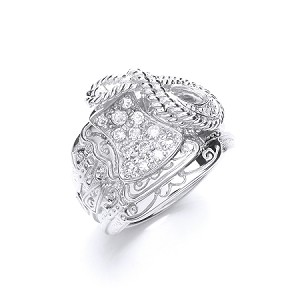 Sterling Silver Gents Cubic Zirconia Saddle Ring