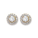 9ct Gold Cubic Zirconia Cluster Studs