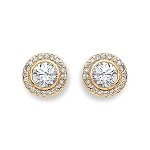 9ct Gold Halo Cubic Zirconia Stud Earrings