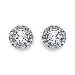 9ct White Gold Halo Cubic Zirconia Stud Earrings