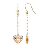 9ct Gold Filigree Heart Drop Earrings