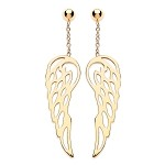 9ct Gold Angel Wings Drop Earrings