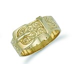 9ct Gold Solid Gents Patterned Buckle Ring