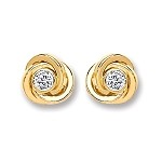 9ct Gold Cubic Zirconia Knot Stud Earrings