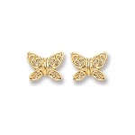 9ct Gold Butterfly Stud Earrings