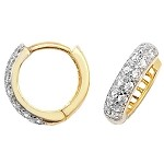 9ct Gold Hinged Cubic Zirconia Hoop Earrings