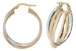 9ct Tri Colour Gold Hoop Earrings