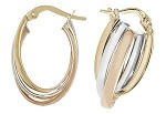 9ct Tri Colour Gold Oval Hoop Earrings