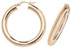 9ct Rose Gold Plain Hoop Earrings