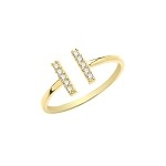 9ct Gold Cubic  Zirconia Double Bar Ring