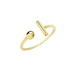 9ct Gold T Bar And Bead Ring