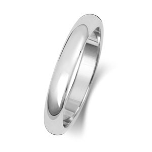 9ct White Gold 3MM D-Shape Wedding Band