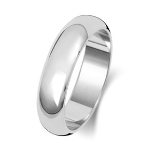 9ct White Gold 5MM Classic D-Shape Wedding Band