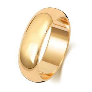 9ct Gold 6MM D-shape Wedding Band