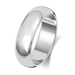 9ct White Gold 6MM D-Shape Wedding Band