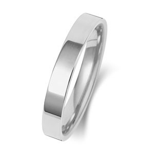 9ct White Gold 3MM Flat Court Wedding Band