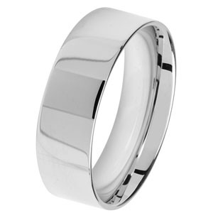9ct White Gold 7MM flat Court Wedding Band