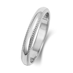 9ct White Gold 3MM D-Shape / Millgrain Wedding Band