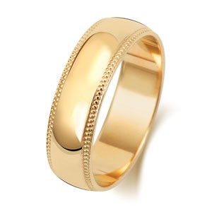 9ct Gold 6MM D-Shape / Millgrain Wedding Band